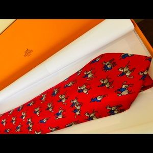 Authentic Hermes silk necktie: Equestrian Rider